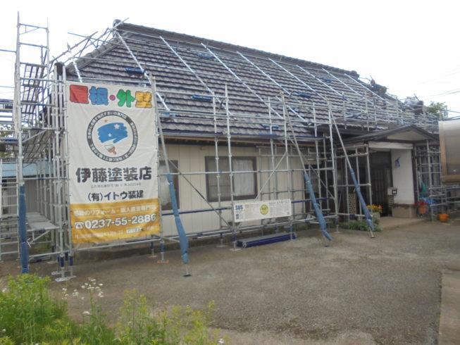 村山市 朝烏様邸屋根塗装工事